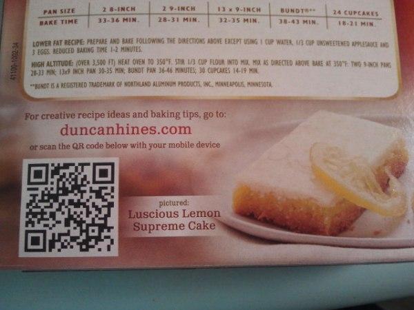Duncan Hines Cake Mix QR Code