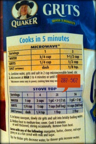 Quaker Grits Serving sizes - for what army?