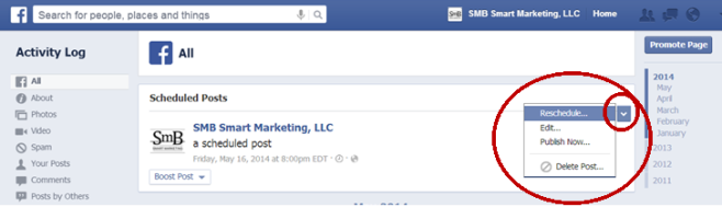Facebook - How to edit a scheduled post